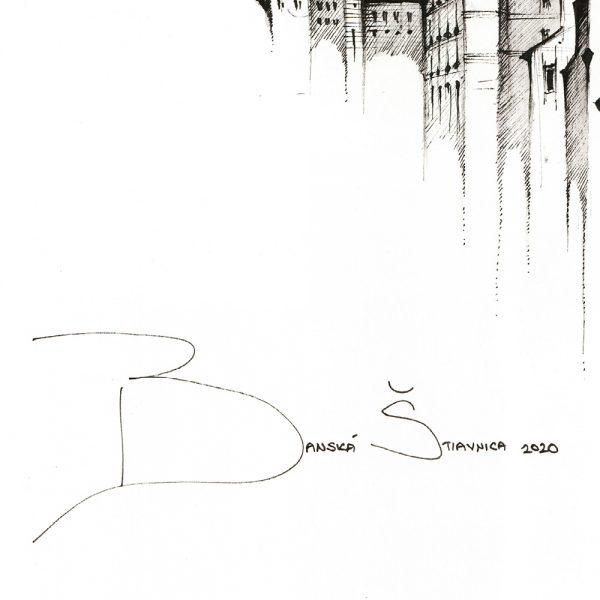 BANSKÁ ŠTIAVNICA Panorama Mix BW - ORIGINAL drawing, 50x35cm, 19.5×13.5 inch