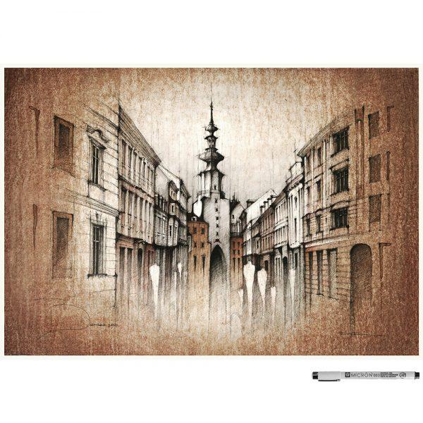 BRATISLAVA Michalska SEPIA - ORIGINAL drawing, 50x35 cm, 19.5×13.7 inch