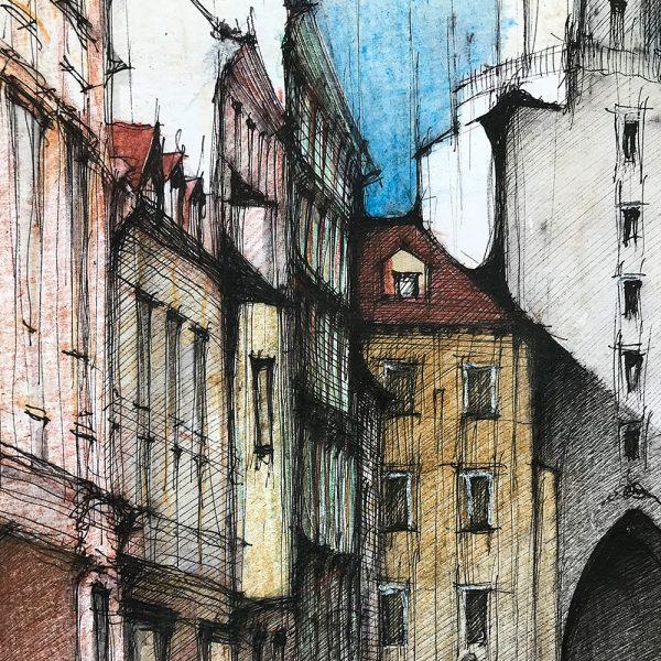 BRATISLAVA Michalská COLOUR - ORIGINAL drawing,  35x50cm, 13.5x19.5 inch
