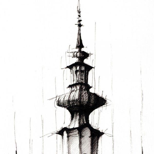 BRATISLAVA Panorama Mix BW - ORIGINAL drawing, 50x35cm, 19.5×13.5 inch