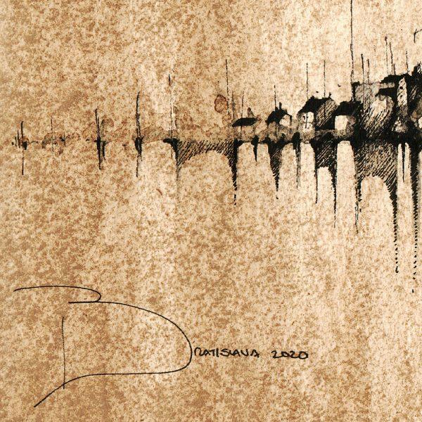 BRATISLAVA Panorama Mix SEPIA - ORIGINAL drawing, 50x23cm, 19.5×9 inch