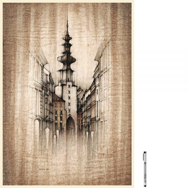 BRATISLAVA Michalska SEPIA - ORIGINAL drawing 50x70cm, 19.5x27.5 inch
