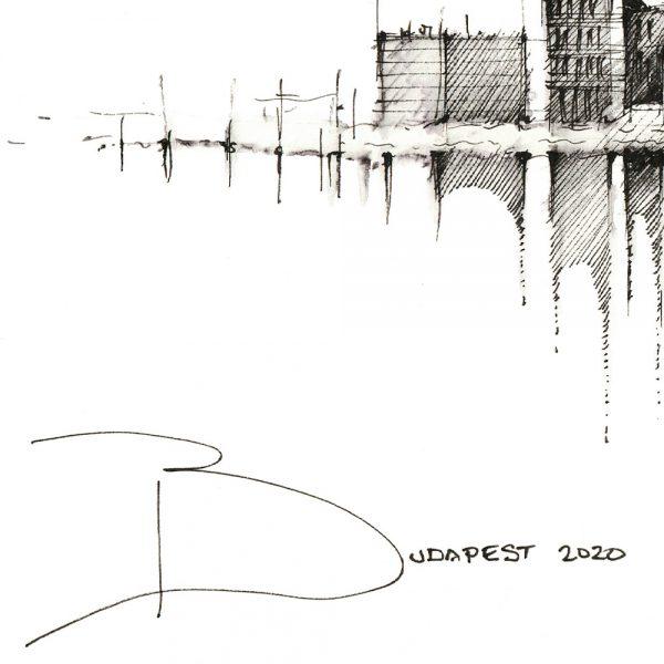 BUDAPEST Panorama Mix BW - ORIGINAL drawing, 50x23cm, 19.5×9 inch
