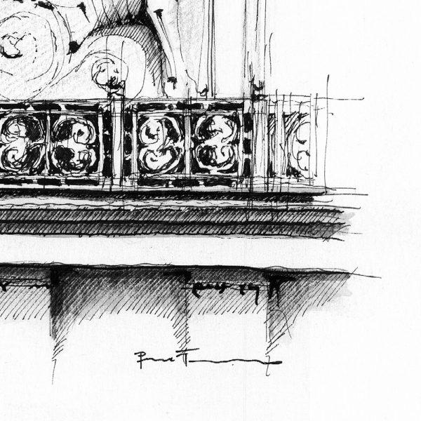 BUDAPEST Keleti Clock BW - ORIGINAL drawing, 35x35cm, 13.5×13.5 inch