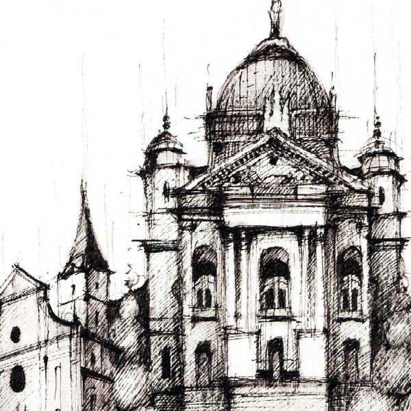 KOŠICE Panorama Mix BW - ORIGINAL drawing, 50x35cm, 19.5×13.5 inch