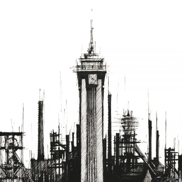 OSTRAVA Panorama Mix BW - ORIGINAL drawing, 50x35 cm, 19.5×13.5 inch