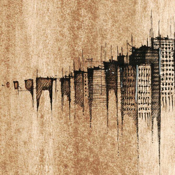 OSTRAVA Panorama Mix SEPIA - ORIGINAL drawing, 50x35 cm, 19.5×13.5 inch