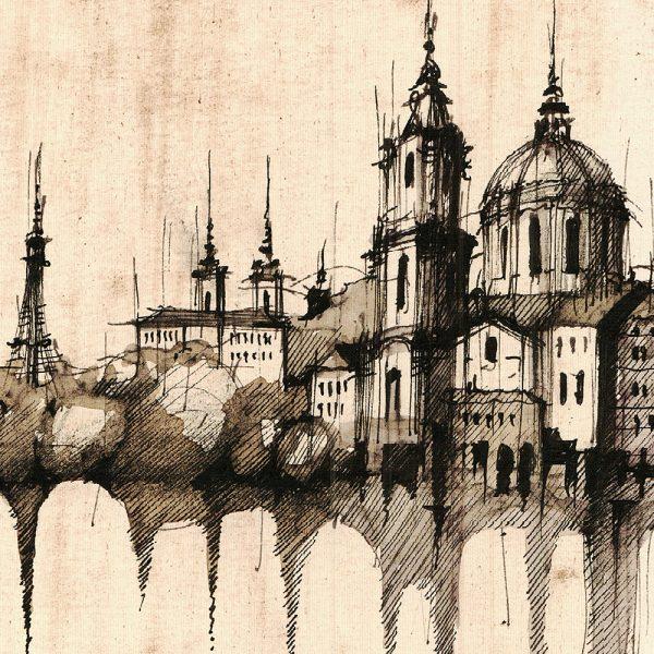 PRAGUE / PRAHA Panorama Mix SEPIA - ORIGINAL drawing 70x50cm, 27.5x19.5 inch