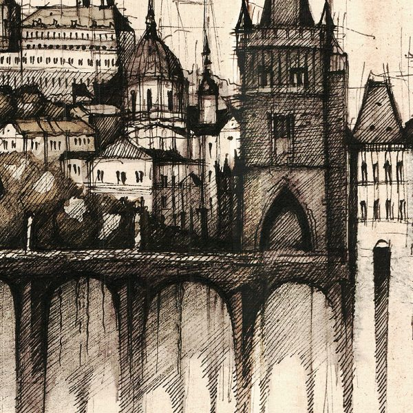 PRAGUE / PRAHA Panorama Mix SEPIA - ORIGINAL drawing 70x50cm, 27.5x19.5 inch