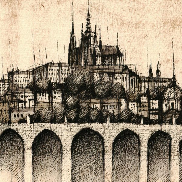 PRAGUE / PRAHA Panorama Mix SEPIA - ORIGINAL drawing, 50x23cm, 19.5×9 inch
