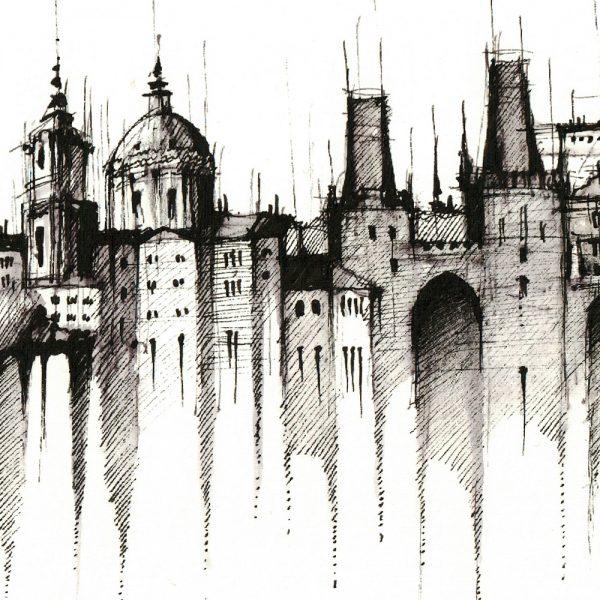 PRAGUE / PRAHA Panorama Mix BW - ORIGINAL drawing, 50x23cm, 19.5×9 inch