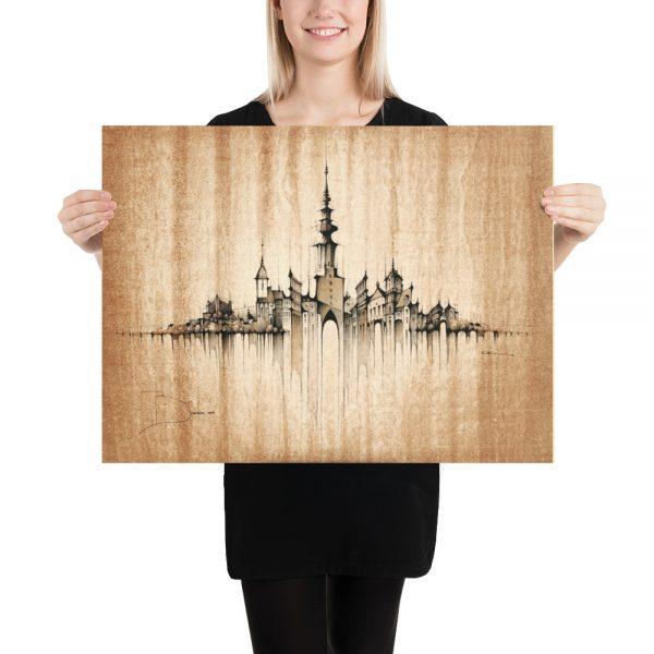 BRATISLAVA Panorama Mix - Coffee – POSTER Paper Print