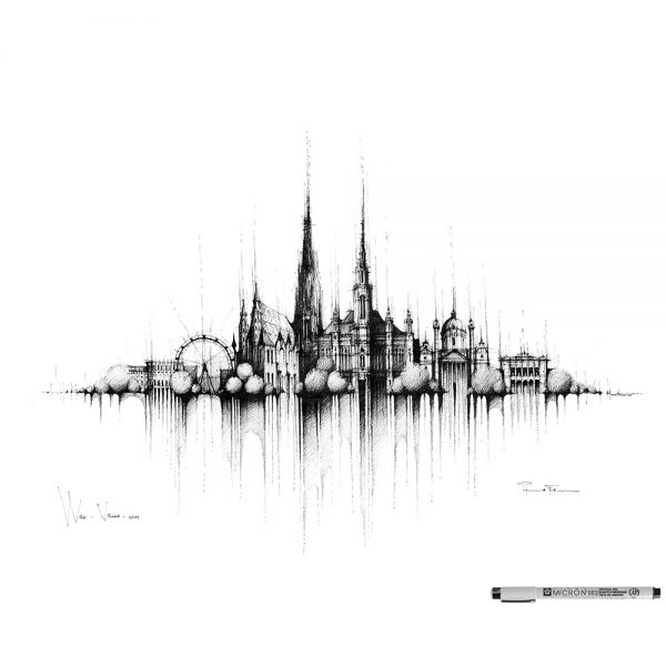 WIEN / VIENNA Panorama Mix BW - ORIGINAL drawing, 50x35cm, 19×13 inch